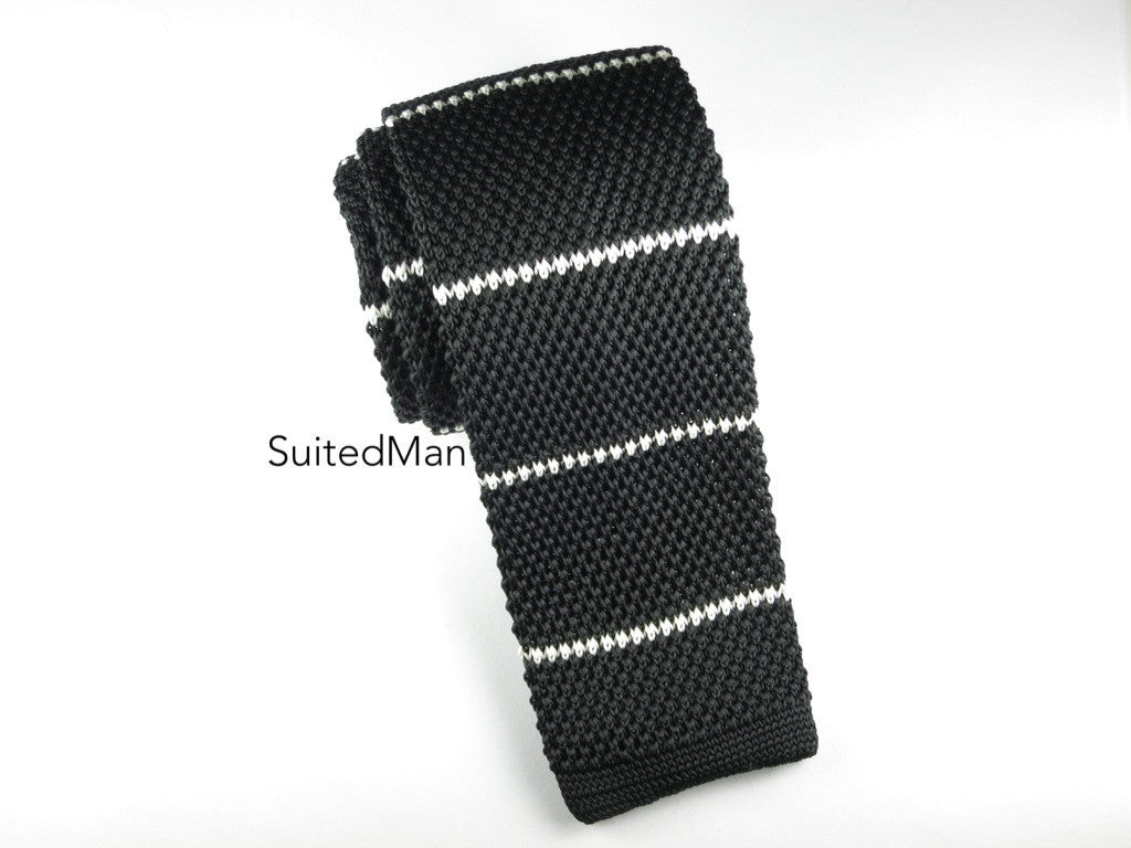 Knit Tie, Stripes, Black/White - SuitedMan