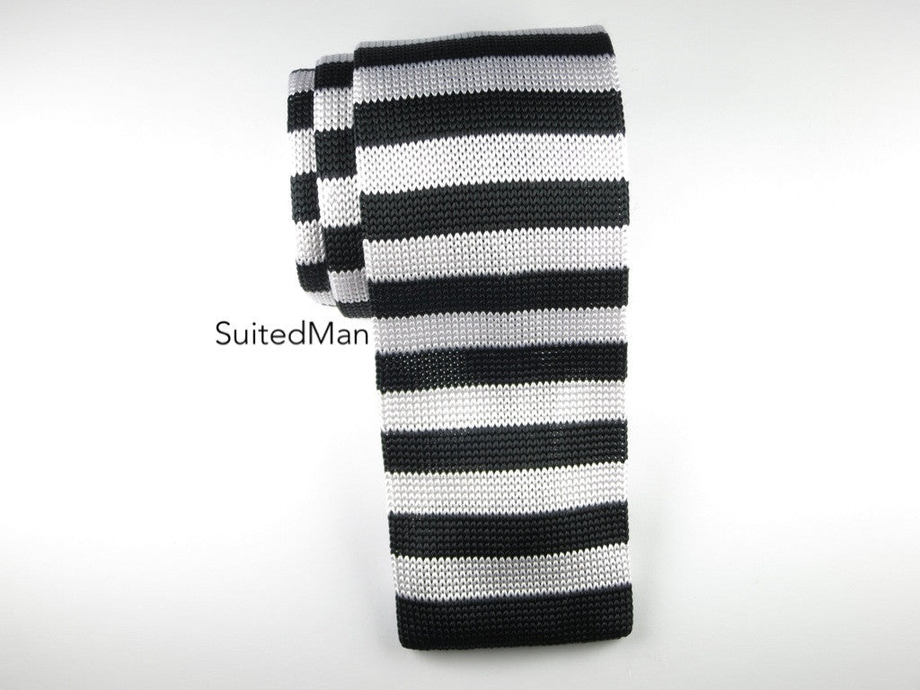 Knit Tie, Black/White Thin Stripes - SuitedMan