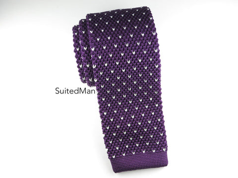 Knit Tie, Dots, Plum/White - SuitedMan