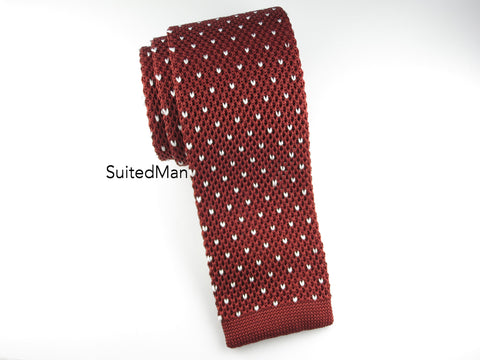 Knit Tie, Dots, Sienna/White - SuitedMan