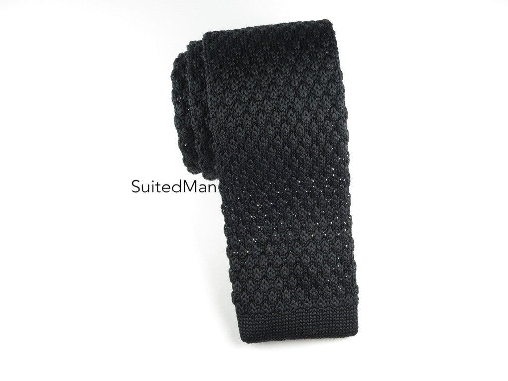 Knit Tie, Textured, Black - SuitedMan
