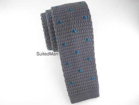 Knit Tie, Polka Dots, Gray/Teal - SuitedMan