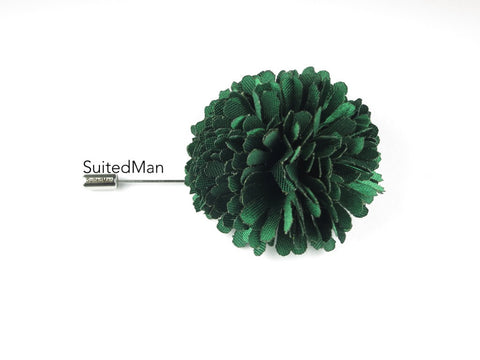 Lapel Flower, Ball, Emerald Green