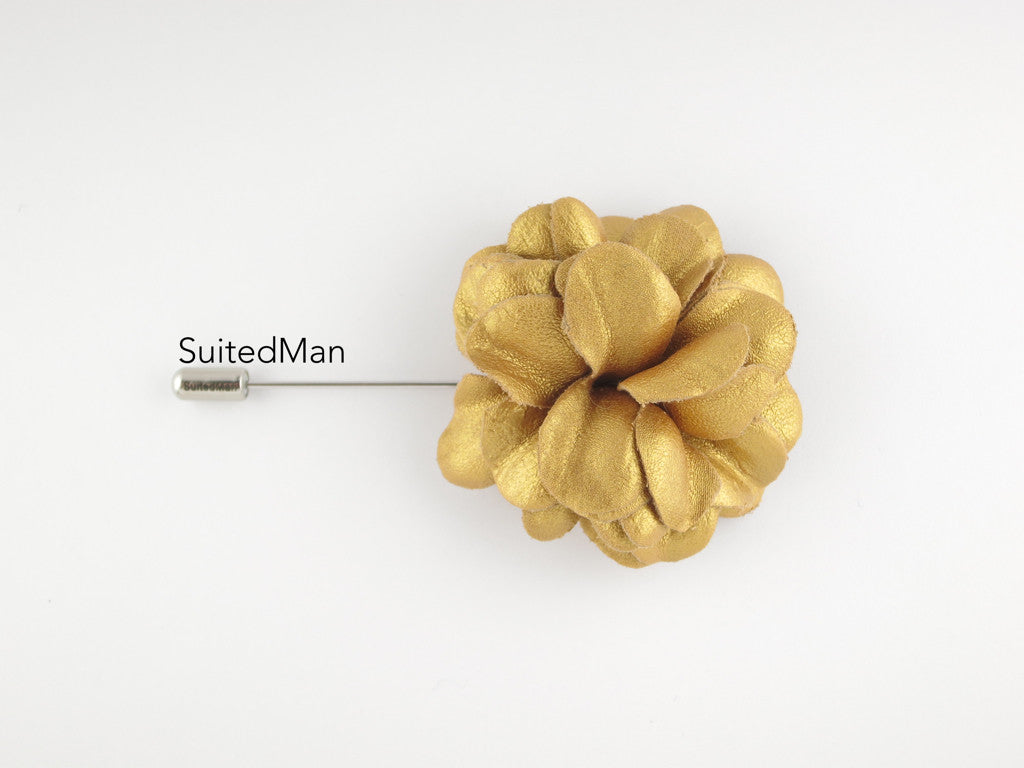 Lapel Flower, Leather, Gold - SuitedMan