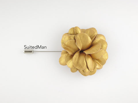 Lapel Flower, Leather, Gold