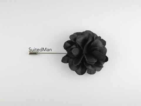 Lapel Flower, Leather, Black