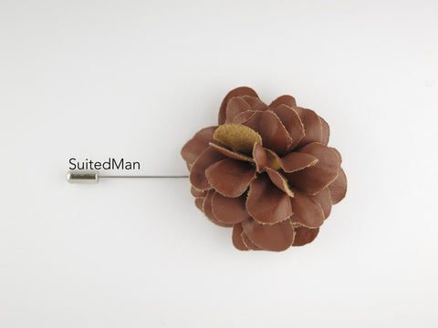 Lapel Flower, Leather, Brown