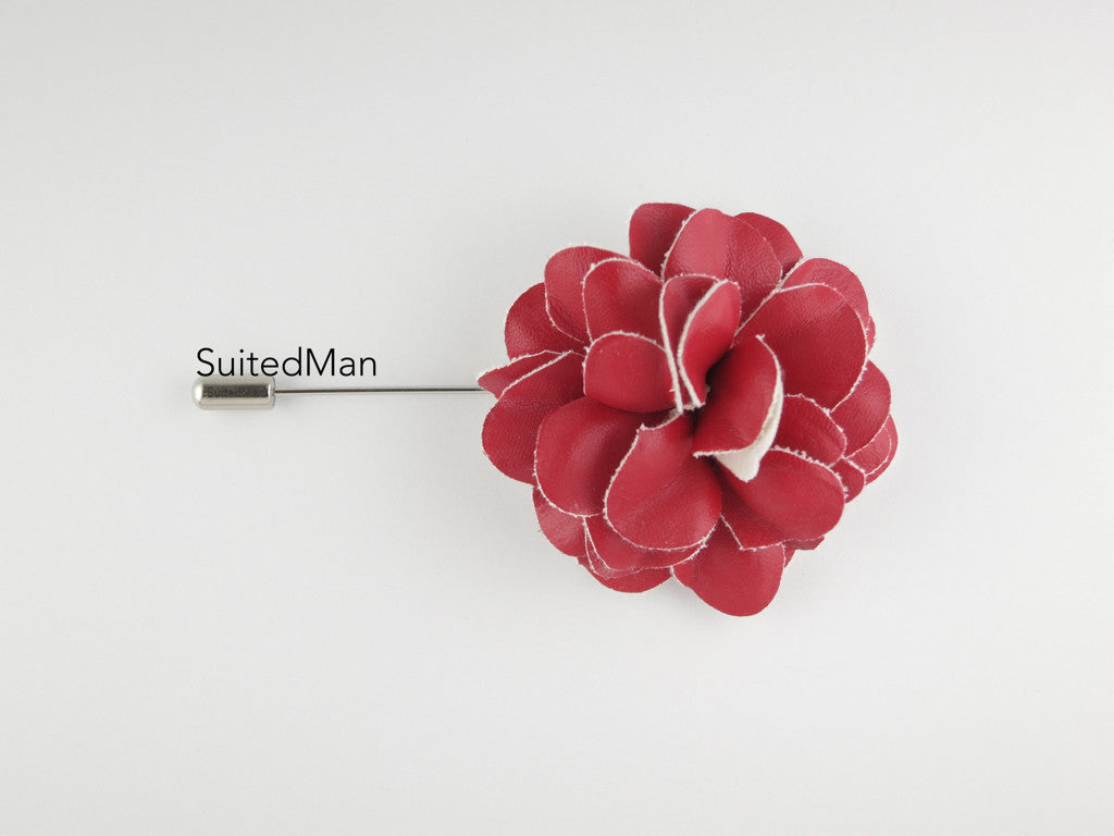 Lapel Flower, Leather, Red - SuitedMan
