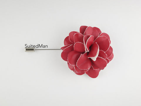 Lapel Flower, Leather, Red