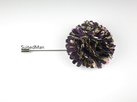 Lapel Flower, Ball, Purple/Pastel