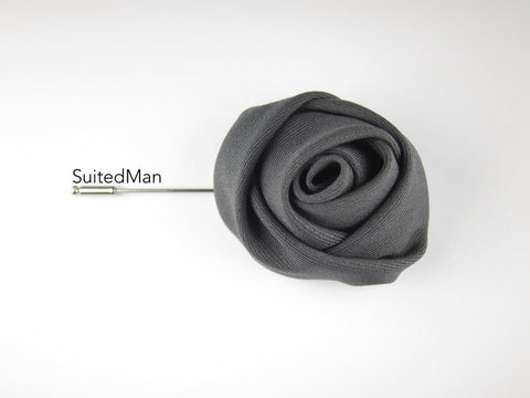 Lapel Flower, Rose, Charcoal - SuitedMan