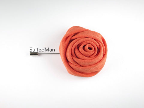 Lapel Flower, Rose, Tangerine