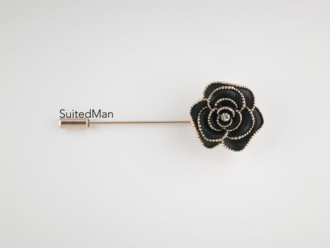 Crystal Rose, Onyx with Rose Gold Trim - SuitedMan