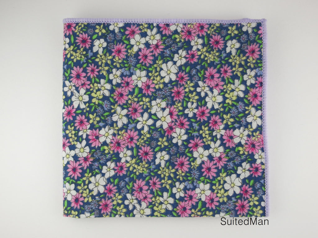Pocket Square, Lavender Daisy - SuitedMan