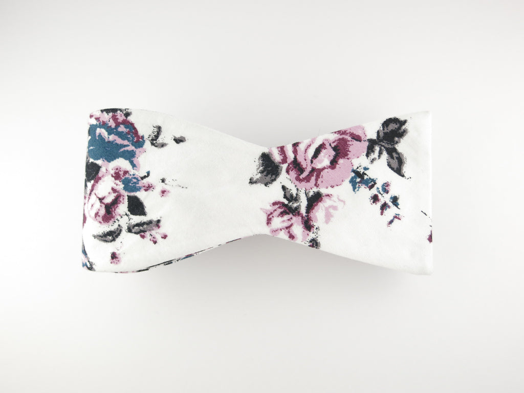 Floral Bow Tie, Lavender Rose, Flat End - SuitedMan