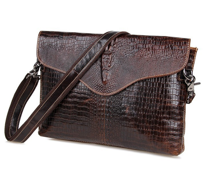 SuitedMan Crocodile Embossed Leather Messenger Bag - SuitedMan