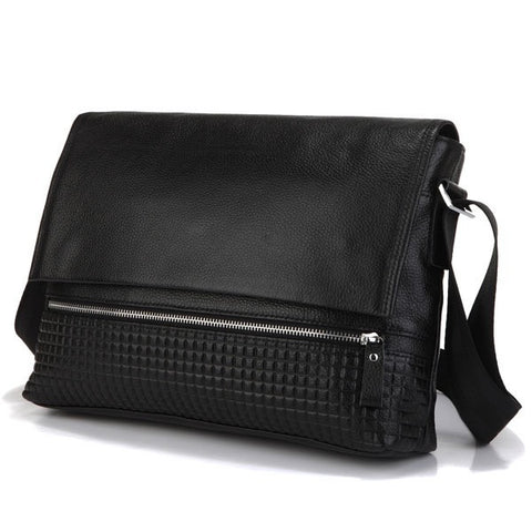 SuitedMan Messenger Bag, Detailed Black Leather