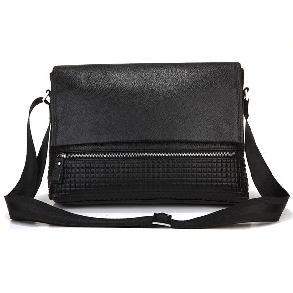 SuitedMan Messenger Bag, Detailed Black Leather - SuitedMan