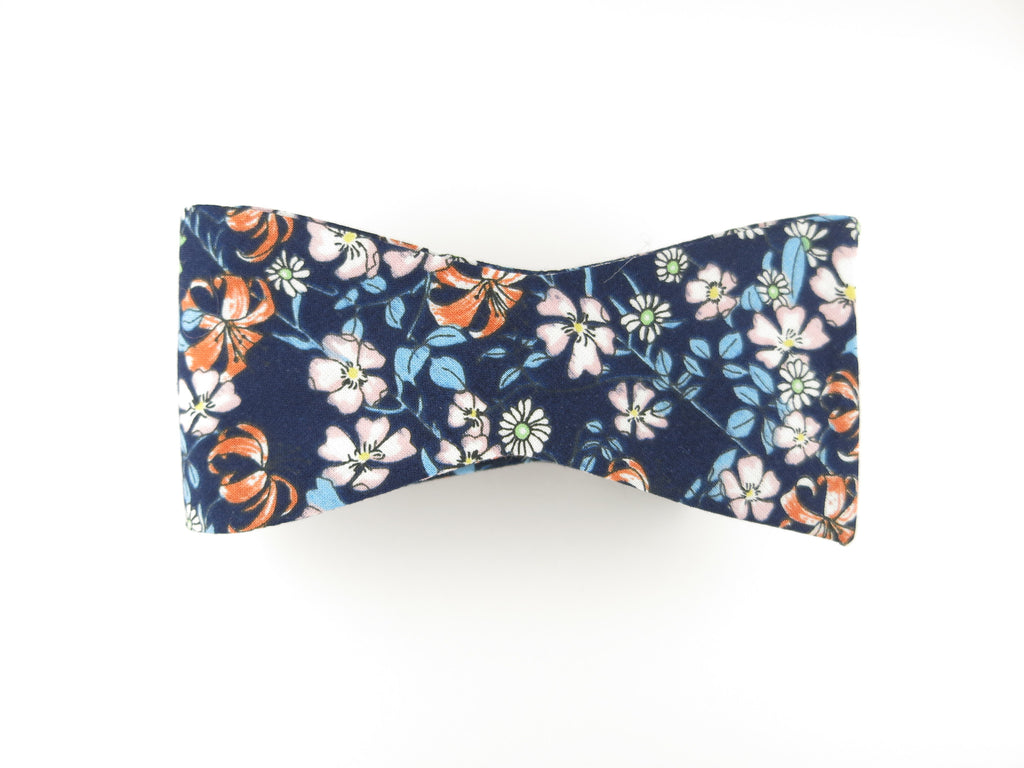 Floral Bow Tie, Navy/Autumn Floral, Flat End - SuitedMan