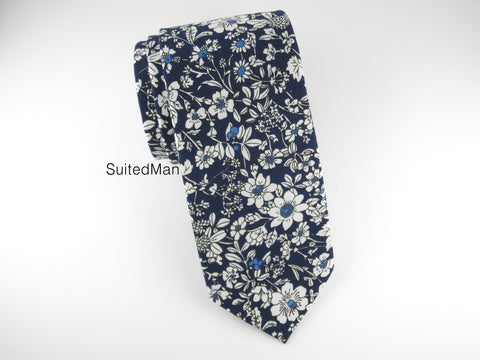 Floral Tie, Navy/White Floral