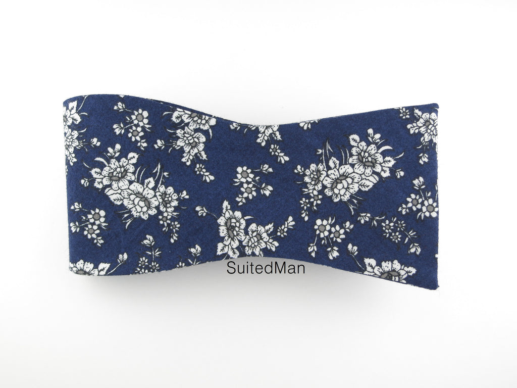 Floral Bow Tie, Navy/Gray Floral, Flat End - SuitedMan
