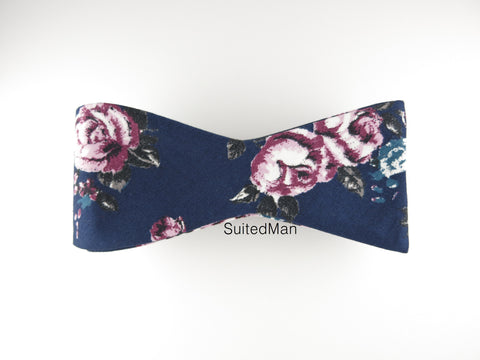 Floral Bow Tie, Navy Lavender Rose, Flat End