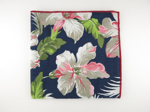 Pocket Square, Navy Peacock Floral - SuitedMan