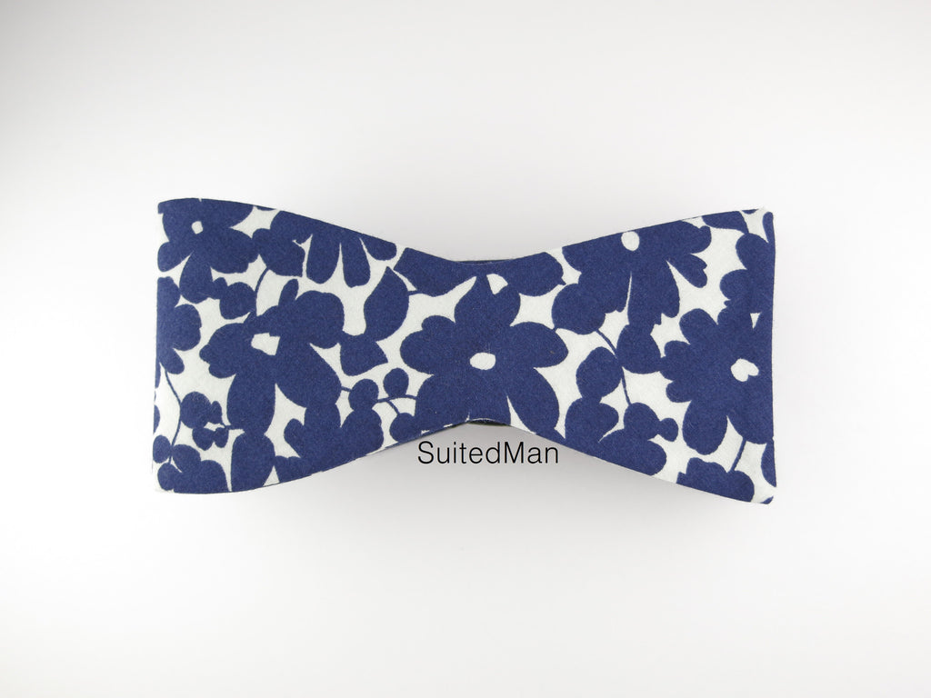 Floral Bow Tie, Navy Petals, Flat End - SuitedMan