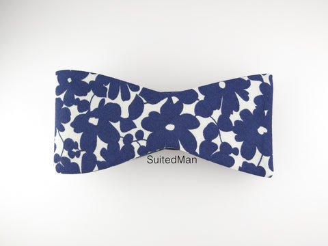 Floral Bow Tie, Navy Petals, Flat End