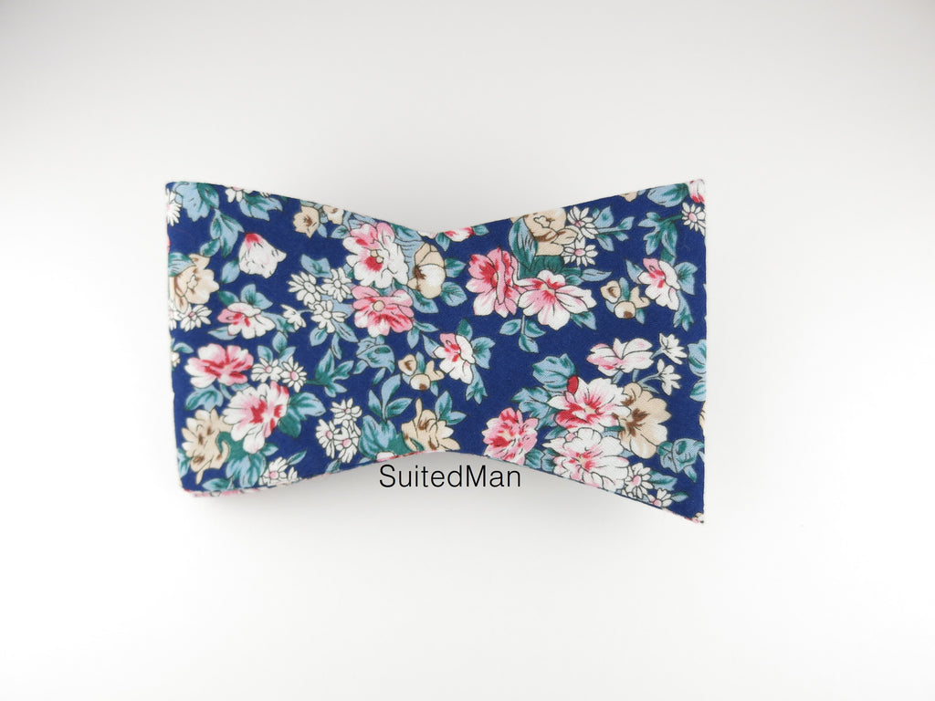 Floral Bow Tie, Navy/Pink Petite Rose, Flat End - SuitedMan