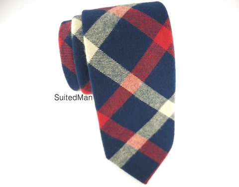 Tie, Plaid, Navy - SuitedMan