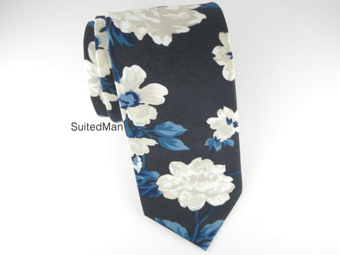 Floral Tie, Navy Rose en Bloom