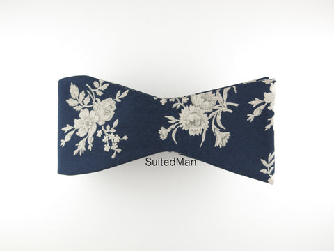 Floral Bow Tie, Navy Victorian