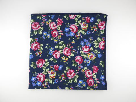 Pocket Square, Navy/Violet Petite Rose