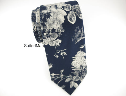 Floral Tie, Navy Watercolor