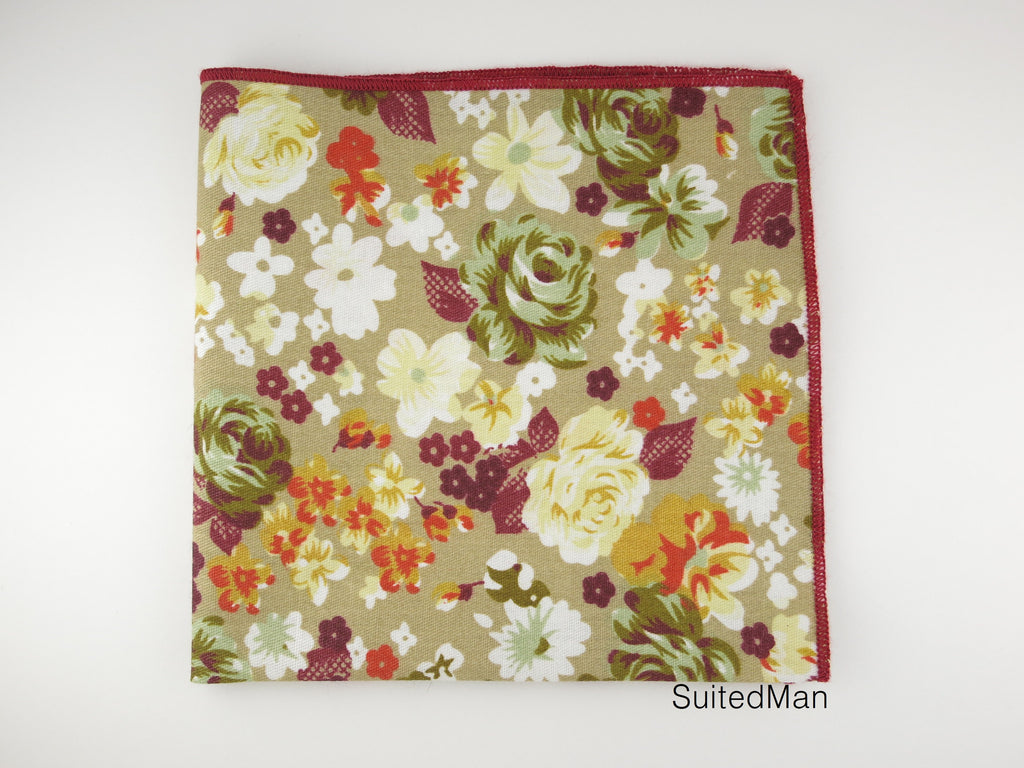 Pocket Square, Olive Floral - SuitedMan
