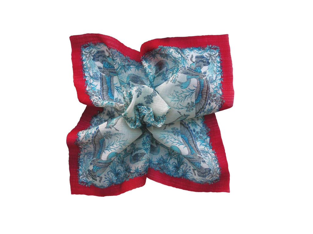 Pocket Square, Blue/Red D'Italia - SuitedMan