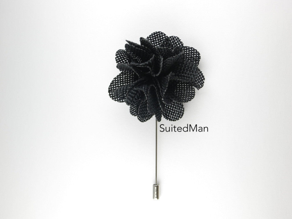 Pin Lapel Flower, Burlap, Black - SuitedMan