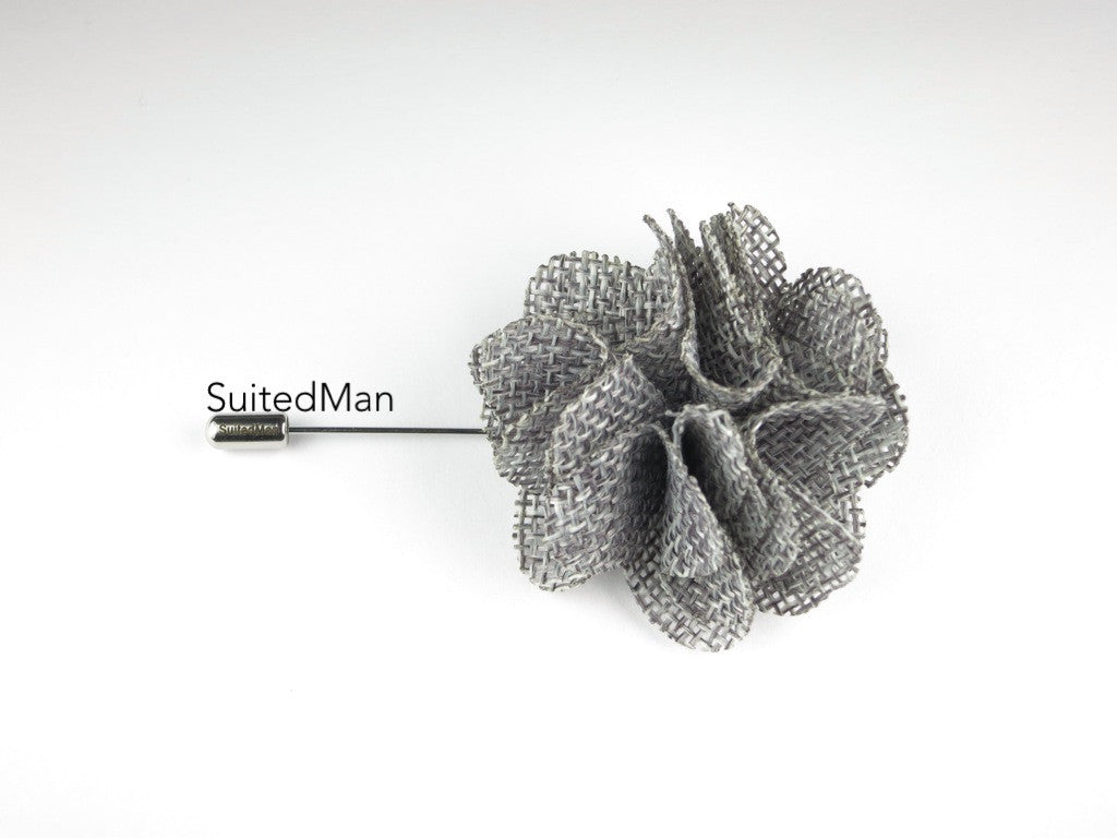 Pin Lapel Flower, Burlap, Gray - SuitedMan