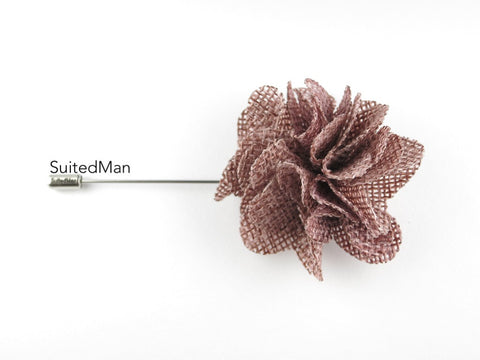 Pin Lapel Flower, Burlap, Mauve - SuitedMan