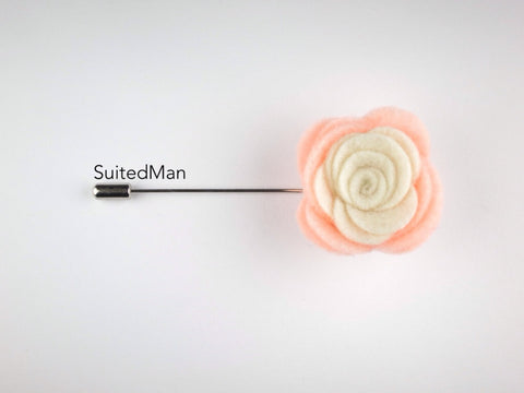 Pin Lapel Flower, Felt, Colorblock, Peach/Cream (Limited)