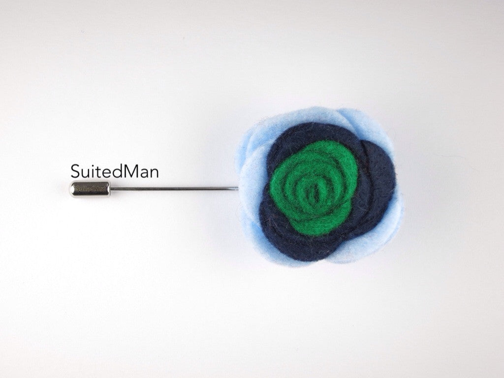 Pin Lapel Flower, Felt, Colorblock, Baby Blue/Midnight Blue/Emerald Green - SuitedMan