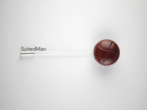 Pin Lapel Leather Button, Cognac - SuitedMan