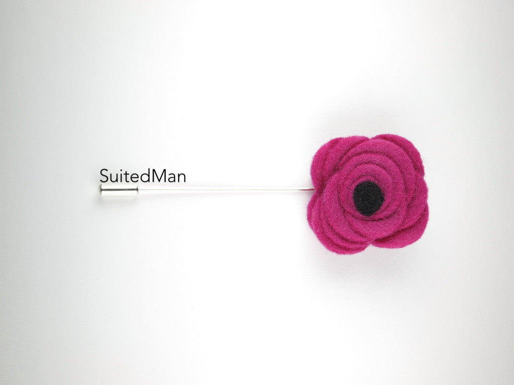 Pin Lapel Flower, Felt, Magenta/Black Poppy - SuitedMan
