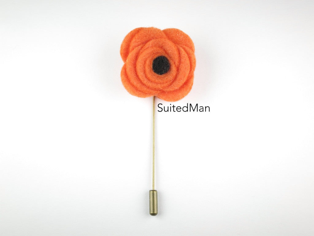 Pin Lapel Flower, Felt, Tangerine/Black Poppy - SuitedMan