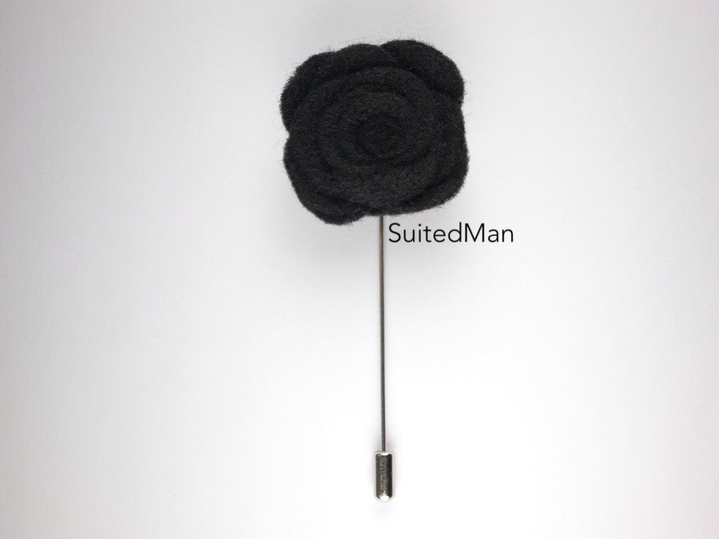 Pin Lapel Flower, Felt, Rose, Black - SuitedMan