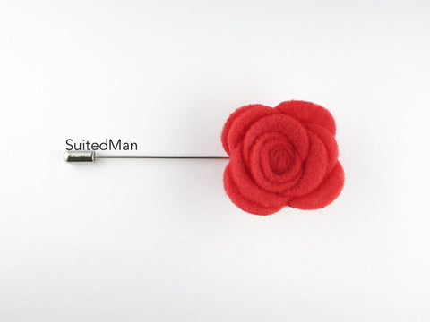Pin Lapel Flower, Felt, Rose, Coral (Limited) - SuitedMan