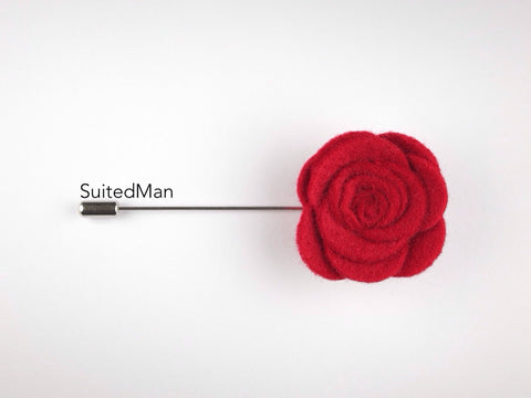Pin Lapel Flower, Felt, Rose, Red - SuitedMan