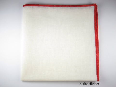 Pocket Square, Antique White/Red