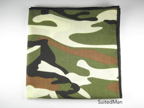 Pocket Square, Abstract Camo with Black Embroidered Edge - SuitedMan